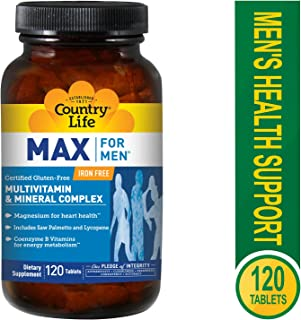 Country Life Max for Men Maxi-Sorb Multi-Vitamin & Mineral, 120-Tablet