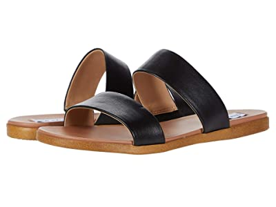 Steve Madden Dual Flat Sandal (Black Leather) Women