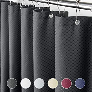 Eforcurtain 78 Inch Width by 84 Inch Length Heavy Duty Waffle Shower Curtain Fabric Waterproof Bathroom Curtain Home Fashion, Charcoal
