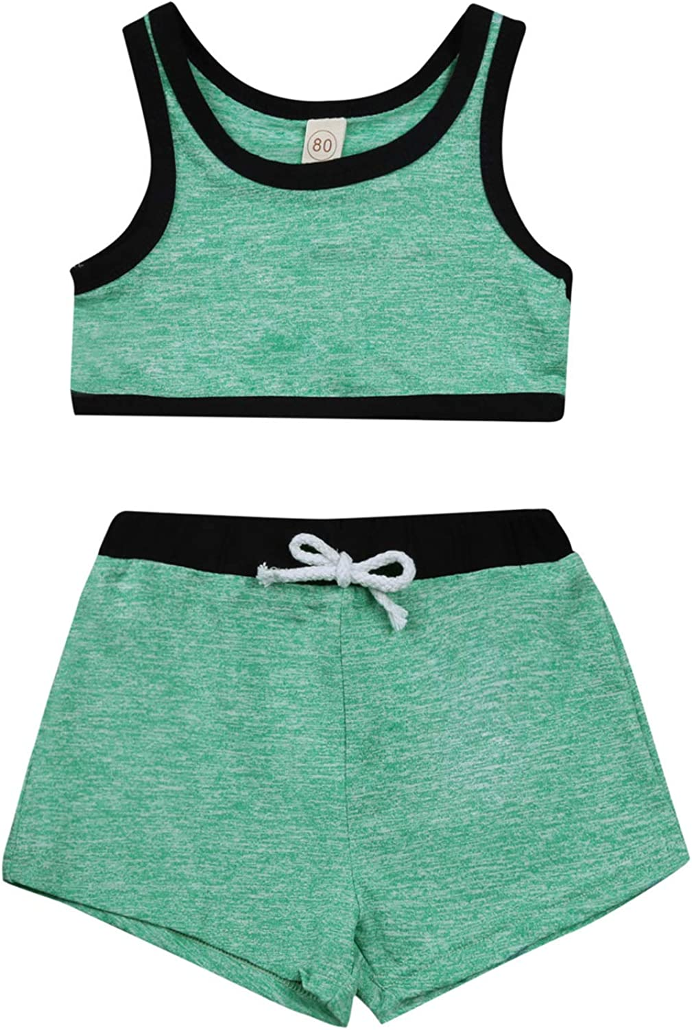 Mubineo Toddler Girl 2PCS Gym Workout Tank Tops Short Sets Sport Yoga Athletic Wear Outfits