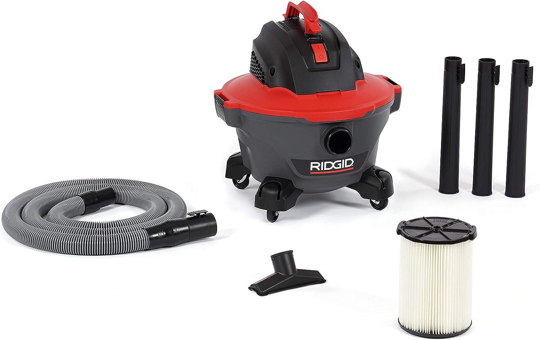 RIDGID, 62698, 6 Gallon RT0600 NXT Wet Dry Vac, RED Professional Industrial, 4.25 HP, Casters, Pro Locking Hose, Qwik Lock Filter, Longer Motor Life, Polyropylene Drum, Large Handle