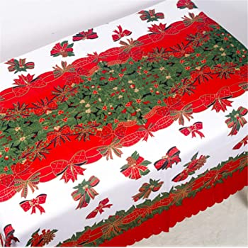 PUBMIND - Mantel de Navidad, camino de mesa rectangular, con estampado de campanas, perfecto para decoraciones navideñas, 177,8 x 152,4 cm