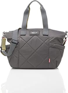 Babymel Evie Quilted Diaper Bag, Slate |  Water Resistant with Integrated Stroller Straps and Accessories