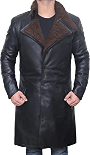 Decrum Black Shearling Leather Trench Coat Mens