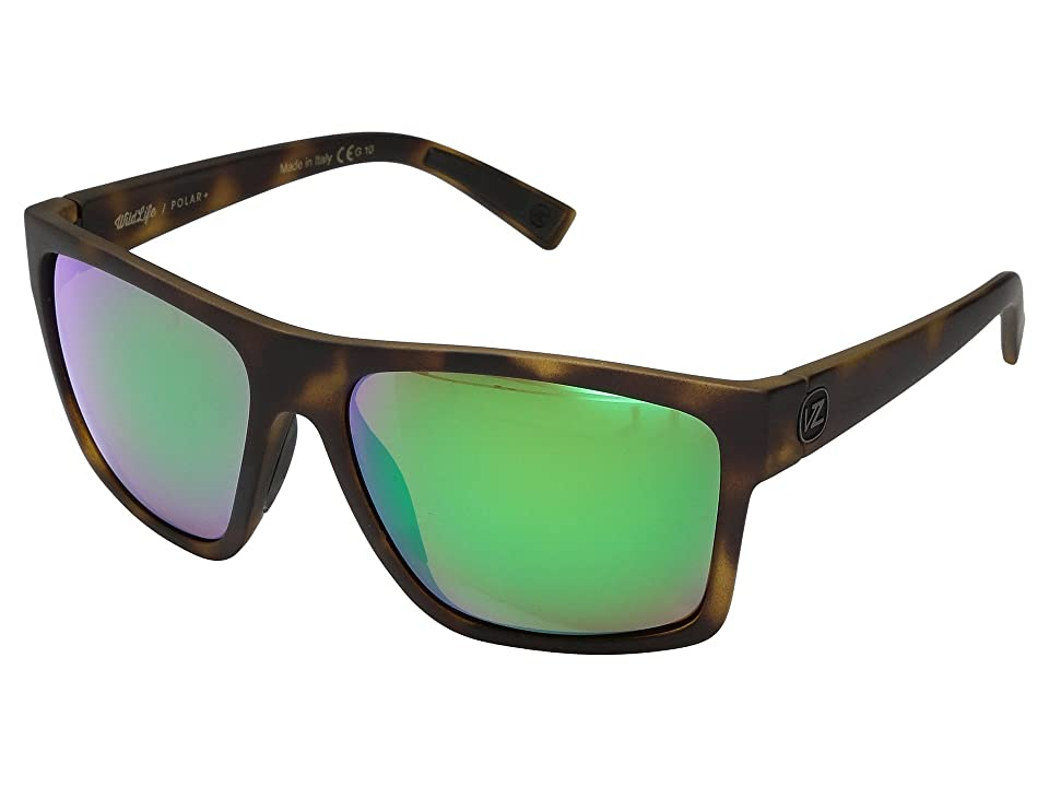 VonZipper Dipstick Polar (Tortoise Satin/Wild Green Chrome Polar Plus) Sport Sunglasses