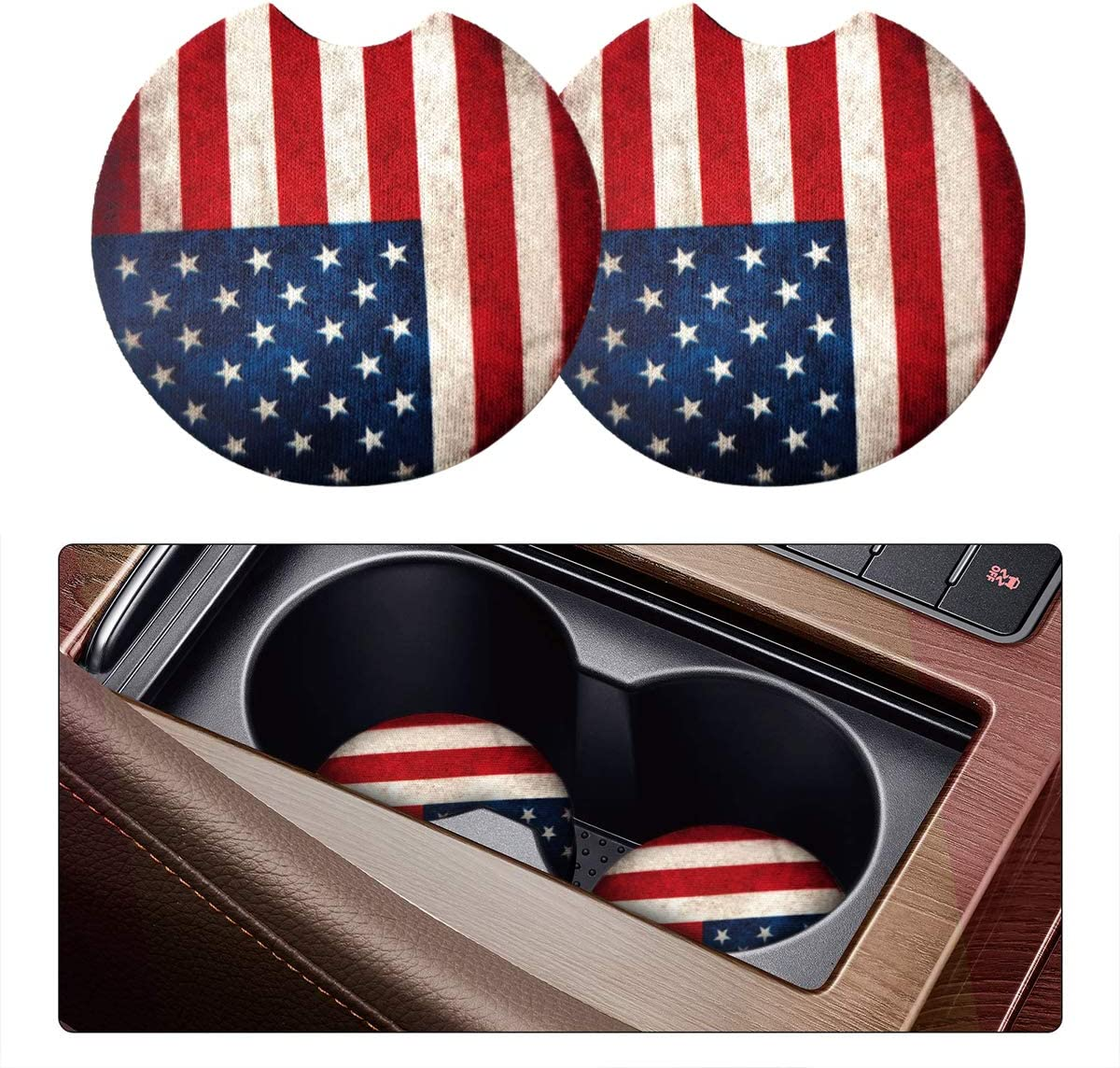 2 Pack Car Coasters for Drinks Absorbent - 2.75 Inch Cute Car Cup Holder Coasters for Women, Removable Cup Holder Coaster for Your Car, Car Interior Accessories for Women & Girls (Red Flag)