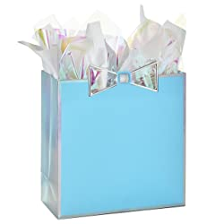 """Hallmark Signature 10"""" Large Gift Bag with Tissue Paper, Blue with Metallic Bow for Baby Showers, Br"""