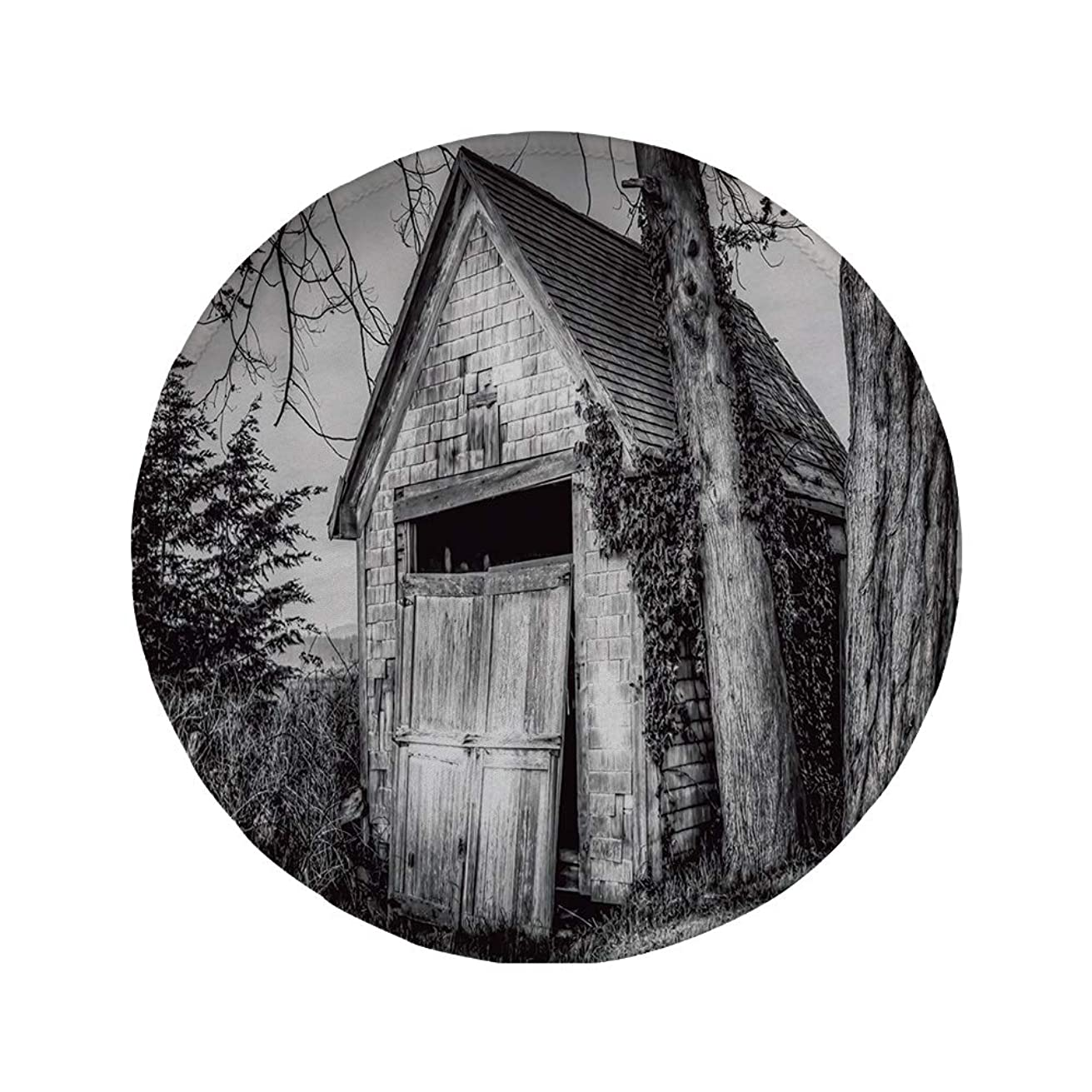 Non-Slip Rubber Round Mouse Pad,Rustic Home Decor,Old Ruined Stranded Stone Barn Farmhouse Rural Countryside Image,Black and White,7.87
