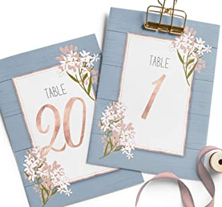 Dusty Blue wedding table numbers 1-20, Table Numbers on Heavy Card stock, wedding table cards, 5x7 cards double sided