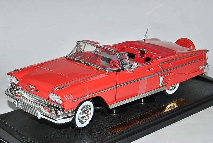Motormax Chevrolet Chevy Impala Cabrio 1958 Rot 1 18 Modell Auto Mit Individiuellem Wunschkennzeichen Spielzeug