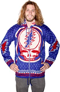Grateful Dead Alpaca Style Zip Up Hooded Sweater Jacket Rare Big Skull Front Steal Your Face Blue Small