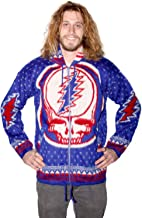 Sunshine Joy Grateful Dead Alpaca Style Zip Up Hooded Sweater Jacket Rare Big Skull Front Steal Your Face Blue Small
