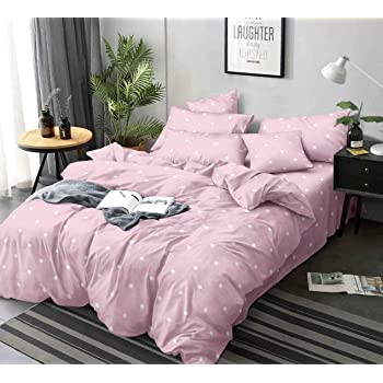 Magnetic Shadow King Size Bed Cotton Polka Elastic Fitted Bedsheet with 2 Pillow Covers 240 X 260 cms (Pink)