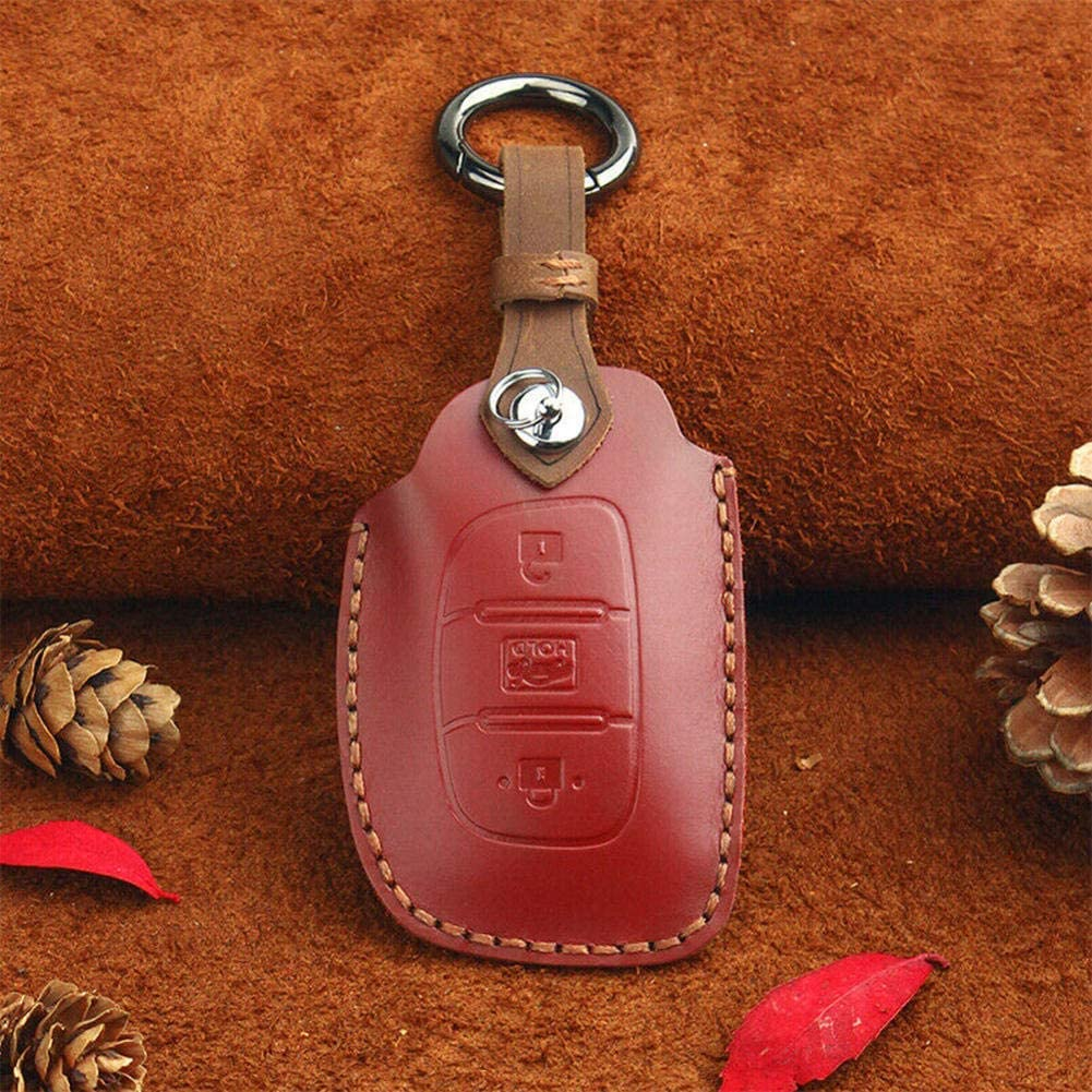 AMTXalo Dealing full price reduction Retro Leather Smart OFFicial mail order Key Case Remote 3 Button Hyunda for