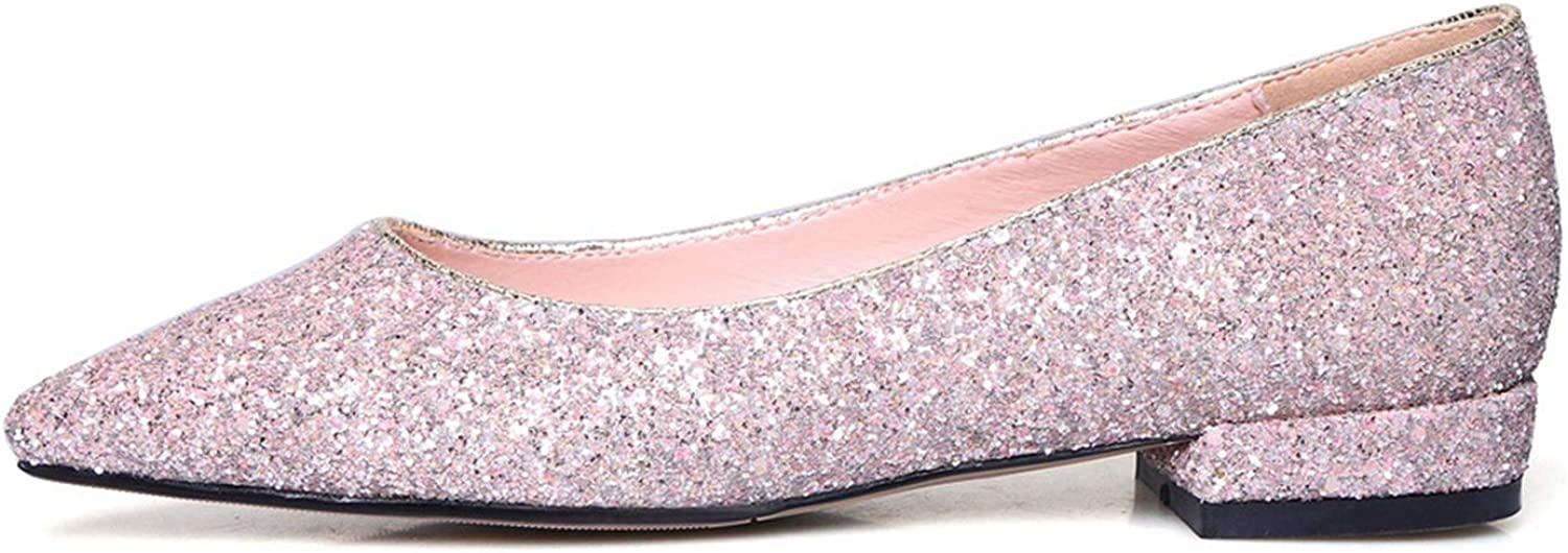 Luxury Women Flats Pointed Toe Slip On Boat Ladies shoes Sequined Cloth Glitter Ballerina Flats Creeperss