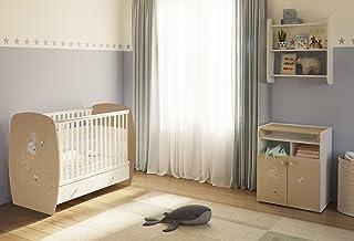 Polini Kids Kinderzimmer French Amis Babybett mit Wickelkommode Babyzimmer Set mit Wickelkommode und Bett