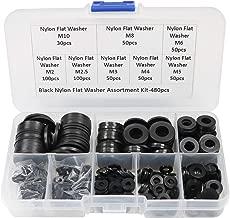 480 Pcs Nylon Flat Washer Assortment Kit for M2 M2.5 M3 M4 M5 M6 M8 M10 Screw Bolt-Black
