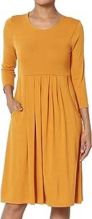 Womens & Plus 3/4 Sleeve High Waist Pleated Stretch Jersey Midi Dress