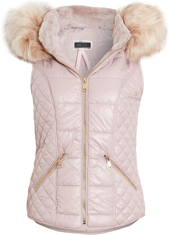 shelikes Womens Faux Fur Gilet Bodywarmer Jacket Quilted Waistcoat Size 8 10 12 14 16