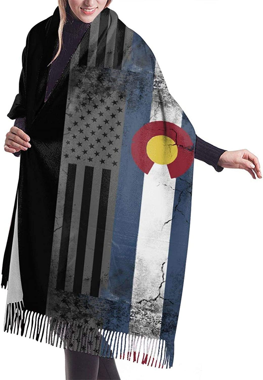Womens Comfortable Cashmere Scarf,American Colorado Flag Shawl Scarf,Premium Large Pashmina,Warm Wrap Cape Solid Shawl Elegant Wrap