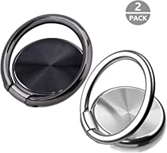 Cell Phone Ring Holder Stand Pack of 2 - Magnetic Phone Ring Finger Kickstand 360°Rotation Metal Ring Grip for Magnetic Car Mount Compatible with All Smartphone (Black&Silver)