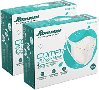 Romsons Comfit 3D 4 Layers Face Mask with 2 Melt-Blown Filter & Softest Ear Loops, White, 25 Count