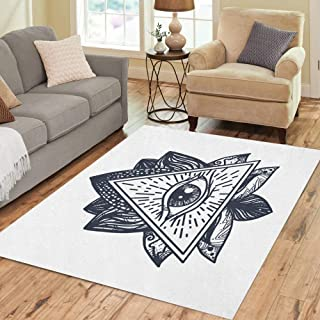 Semtomn Area Rug 2' X 3' Vintage All Seeing Eye in Mandala Lotus Providence Magic Home Decor Collection Floor Rugs Carpet for Living Room Bedroom Dining Room