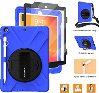 iPad 10.2 2019 Case,BRAECNstock iPad 7th Generation Case[Built-in Screen Protector] Heavy Duty Shockproof with Pencil Holder/Kickstand/Hand Strap Rugged Case for iPad 10.2 Inch-Blue