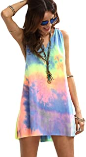 Women's Sleeveless V Neck Tie Dye Tunic Tops Casual Swing...