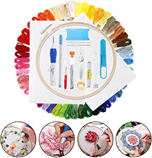 Mengger Stickerei Set,Stickgarn Starter Embroidery Floss Kreuzstich Tool Kit Cross Stitch Einschließlich Stickrahmen 50 Farbfäden Sechs Fädechen Classic Reserve und Nadeln Set Stickerei