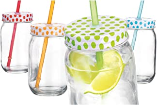 Home Essentials Polka Dot 16oz Mason Jars w/Straws, Set of 4