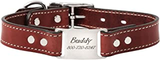 dogIDS Personalized English Bridle Leather Dog Collar with Engraved ScruffTag Nameplate