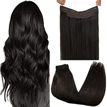 GOO GOO Halo Hair Extensions Human Hair Dark Brown 18 Inch 80g Hairpiece Remy Hair Extensions Natural Straight Hidden Wire Hair Extensions with Transparent Fish Line Invisible Human Hair Extensions
