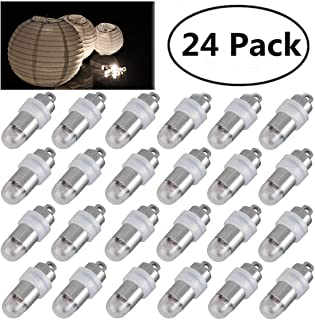 Jofan 24pcs Warm White Mini Lights Paper Lantern Lights LED Balloon Lights for Floral Party Wedding Decoration (Waterproof and Submersible)