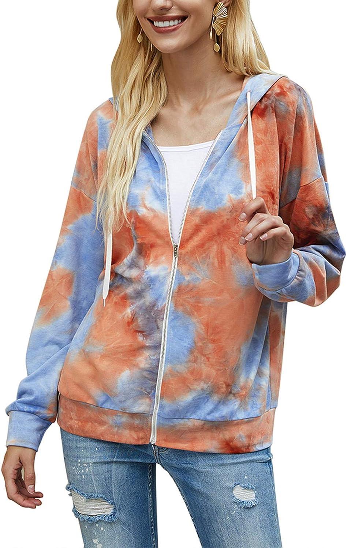 Women's Lightweigh Tie Dye Printed Sweatshirts Long Sleeve Full Zip Hoodie Sweatshirt Jacket Colorful Hooded Tops