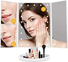 Lighted Vanity Mirror Makeup Mirror with Lights-light up Mirror,1X/2X/3X Magnification,Two Power Supply Mode,Touch Control...
