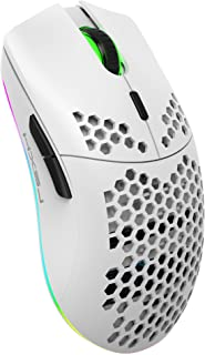 Rechargeable Wireless Honeycomb Gaming Mouse,Lightweight with 3200 DPI,RGB Rainbow Backlit-White