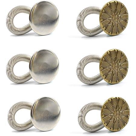 Botones Extensores de Metal para Mujeres Embarazadas eZAKKA, Ballenas Cuello Camisa, Extensores de pantalones, jeans, camisas de vestir, Pack de 6 ...