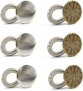 eZAKKA 6Pcs Waistband Extender No Sew Adjustable Elastic Spring Metal Button 20mm Jeans Collar Button Pant Extenders for Men Women Maternity Pregnancy