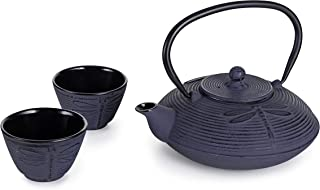Hinomaru Collection Rikyu Japanese Cast Iron Tetsubin Tea Set Including Teapot 26 Fl Ounce with Stainless Steel Infuser 2 Enameled Cast Iron Tea Cups Gift Packaging (Purple Dragonfly)