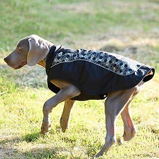 XinC Chaqueta del Perro Impresas Ropa al Aire Libre a Prueba de Viento Caliente Lluvia Ropa Grande Capa del Perro Caliente Reversible a Prueba de Viento Guardia Chaleco del Perro de Invierno,Negro,M