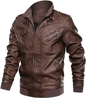 Sunward Men's Autumn Winter Vintage Zipper Stand Collar Imitation Leather Coat