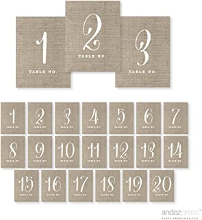 Andaz Press Table Numbers 1-20 on Perforated Paper, Chic Country Burlap Print, 4.25 x 5.5-inch Cardstock Sign, 1-Set, for Weddings, Anniversary
