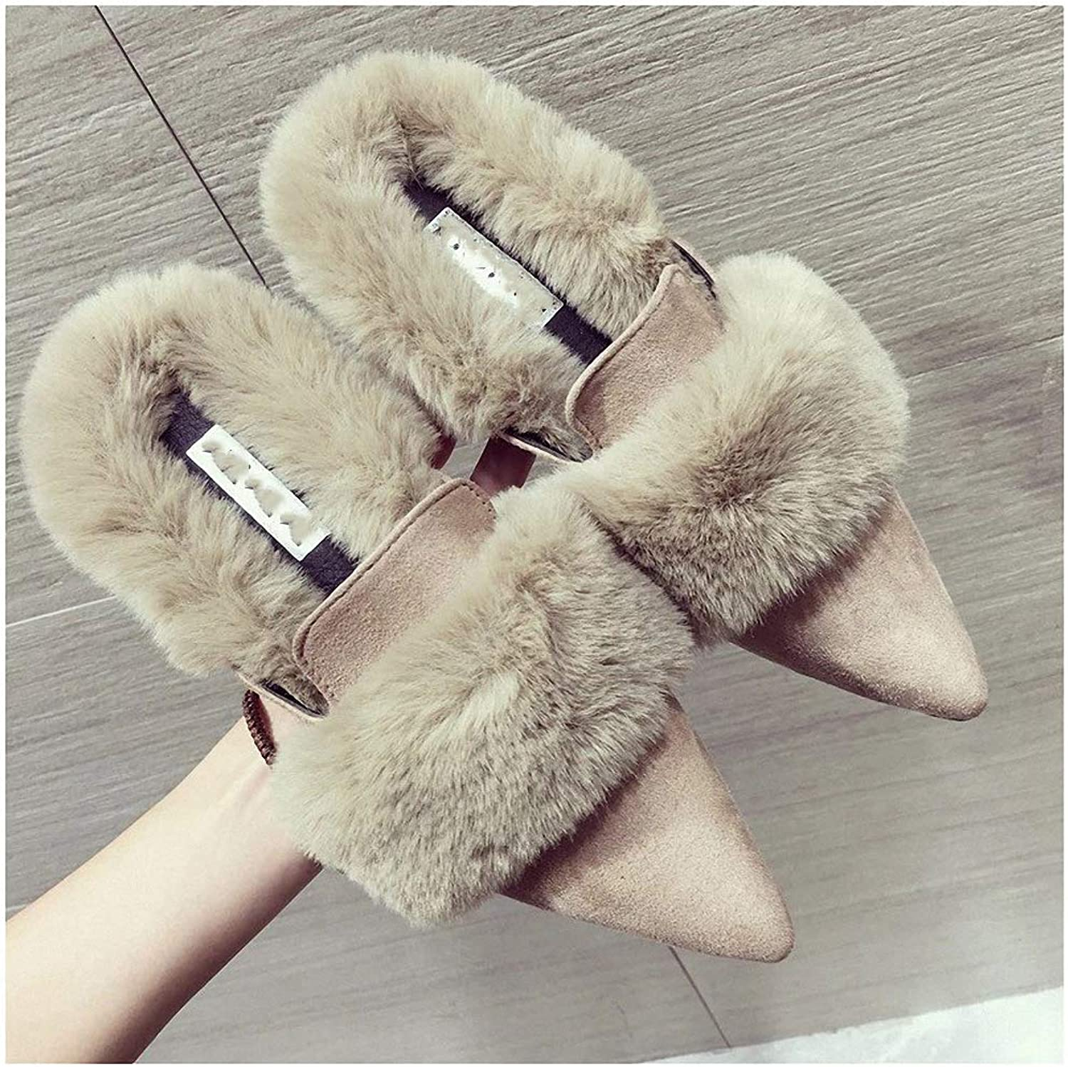 Womens Slippers Women Fur Slippers Warm Plush Home Slippers Women Flat Casual shoes Women Outdoor Slides Suede Loafer Slip on Mule shoes