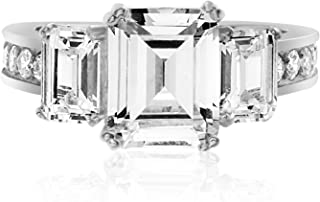 Devin Rose Sterling Silver Three Stone Emerald Cut Cubic Zirconia Anniversary/Engagement Ring for Women (Various Styles)