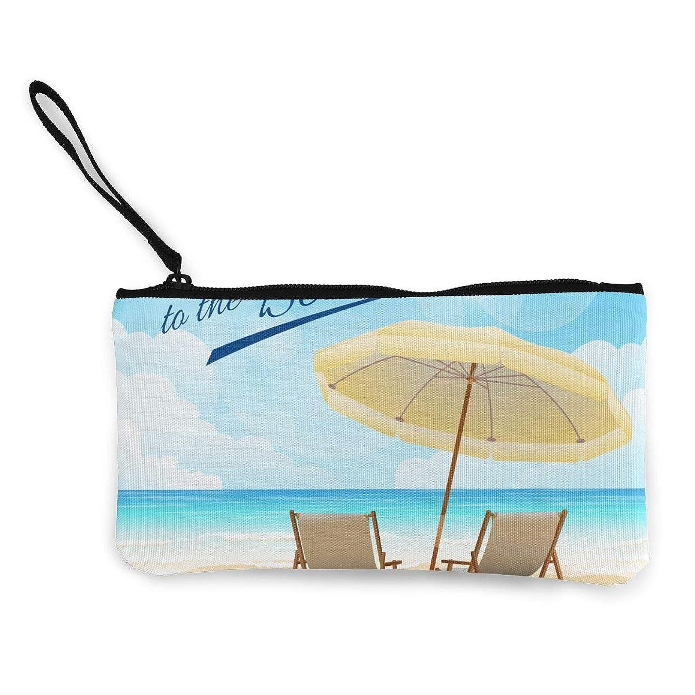 シャンプー後ろに製作ErmiCo レディース 小銭入れ キャンバス財布 ようこそビーチ チェア 小遣い財布 財布 鍵 小物 充電器 収納 長財布 ファスナー付き 22×12cm