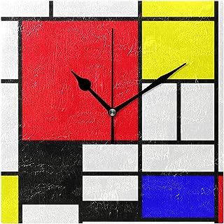モンドリアンの正方形 スクエア壁時計 時計 壁掛け 掛け時計 壁掛け時計 20cm 四角 ウォールクロック 掛時計 壁時計 クロック インテリア おしゃれ デザイン