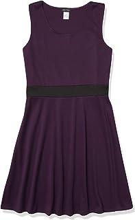 فستان Star Vixen بدون أكمام للنساء مع حزام داخلي ملون ، أرجواني/أسود ، صغير