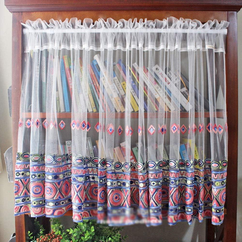 LDJ Sheer Max 75% OFF Tier Curtains Embroidery Max 83% OFF Half Bathroom Windo Pattern