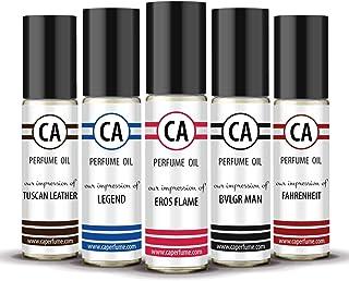 CA Perfume Best Fall Men Set Impression of (Eros Flame + Bvl. Man + Legend + Fahrenheit + Tuscan Leather) Fragrance Body Oils Essential Sample Travel Size Roll-On (0.3 Fl Oz/10 ml) x5